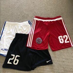 3 pairs of boys L (13-14) soccer shorts